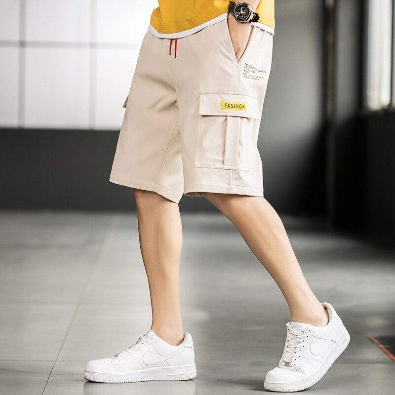 2020 Summer Shorts Men Cargo Shorts Casual Cotton Knee Length Mid Elastic Waist Pockets Boardshort Beach Short for Men bermuda