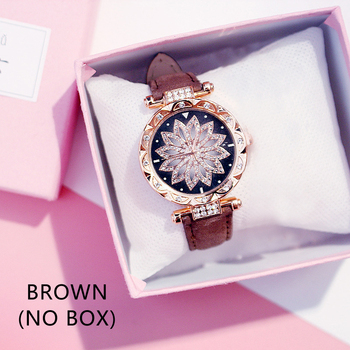 Casual Women Romantic Starry Sky Wrist Watch bracelet Leather Rhinestone Designer Ladies Clock Simple Dress Gfit Montre Femm - Brown