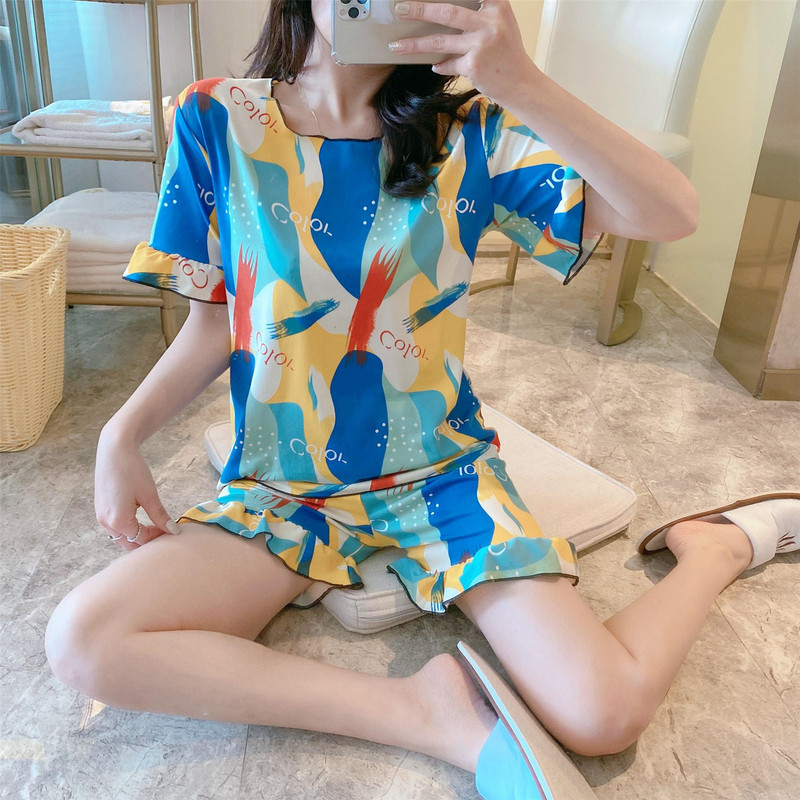 WAVMIT Summer Sleepwear Top Set New Thin Ice Silk Shorts Sleeve Print Sexy Pajama Set Women's Home Cloth Print Pyjamas Set Pant