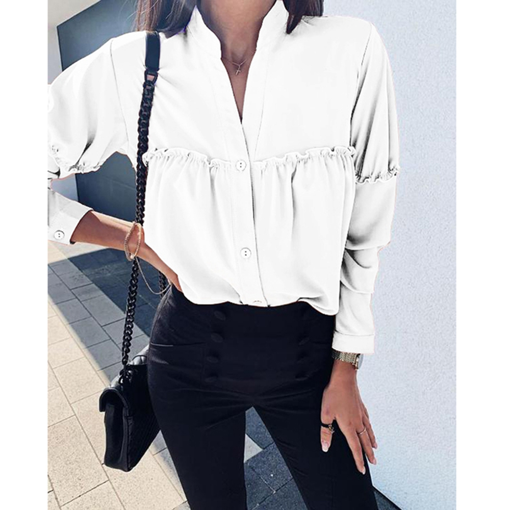 Women's Blouses Fashion 2020 Long Sleeve Women Shirts Womens Tops And Blouses Solid Chiffon Blouse Shirt Plus Size Tops