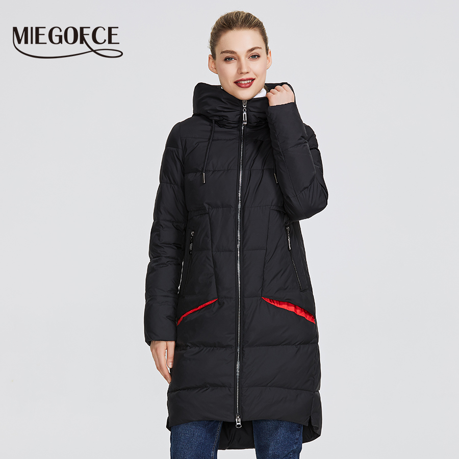 MIEGOFCE 2019 New Winter Women Collection of Coat Knee Length Parka Women Windproof Women Jacket With Stand Up Collar and Hood-in Parkas from Women's Clothing    1