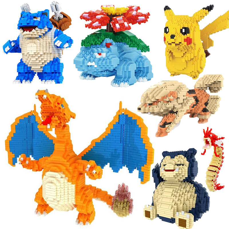new DIY blocks bricks Pocketed Monstered Pikachued Venusaur Blastoise Charizard Snorlax Gyarados  Mini Building Blocks Toys