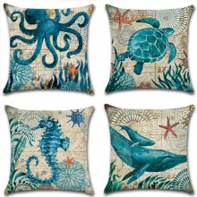 45*45 Linen Cushion Cover Printed Marine organism Throw Pillow Cases Home Room Decoration For Soft Sofa Pillow