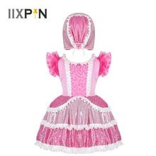 Filles danse Costume enfants Cosplay déguisement à volants manches courtes paillettes brillantes froufrous robe avec casquette scène Performance tenue