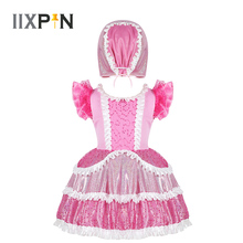 Girls Dance Costume Kids Cosplay Fancy Dress Ruffled Short Sleeves Shiny Sequins Frilly Dress with Cap Stage Performance Outfit