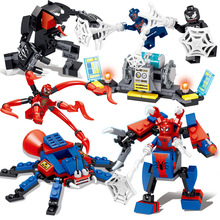 4pcs/lot Spider Man Figure Motorcycle Venom Scanes Spiderman Marvel Super Hero Model Building Blocks Bricks Toys For Children