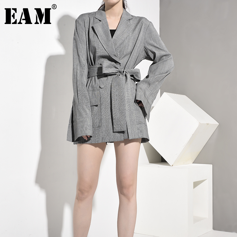 [EAM]  Women Gray Plaid Waistbelt Blazer New Lapel Long Sleeve Loose Fit Jacket Fashion Tide Spring Autumn 2020 AA1960 AA1960