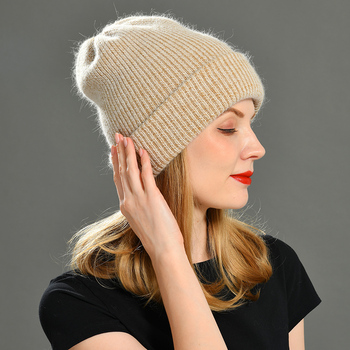 2021 New Winter Hat for Women Rabbit Cashmere Knitted Beanies Wool Angora Female Thick Warm Vogue Ladies image