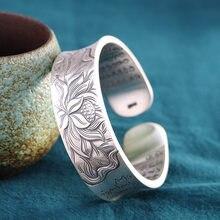Brazaletes de loto plateado para mujer, joyería Vintage tallada, corazón budista de loto, brazalete ancho de Sutra, accesorios para mujer 999