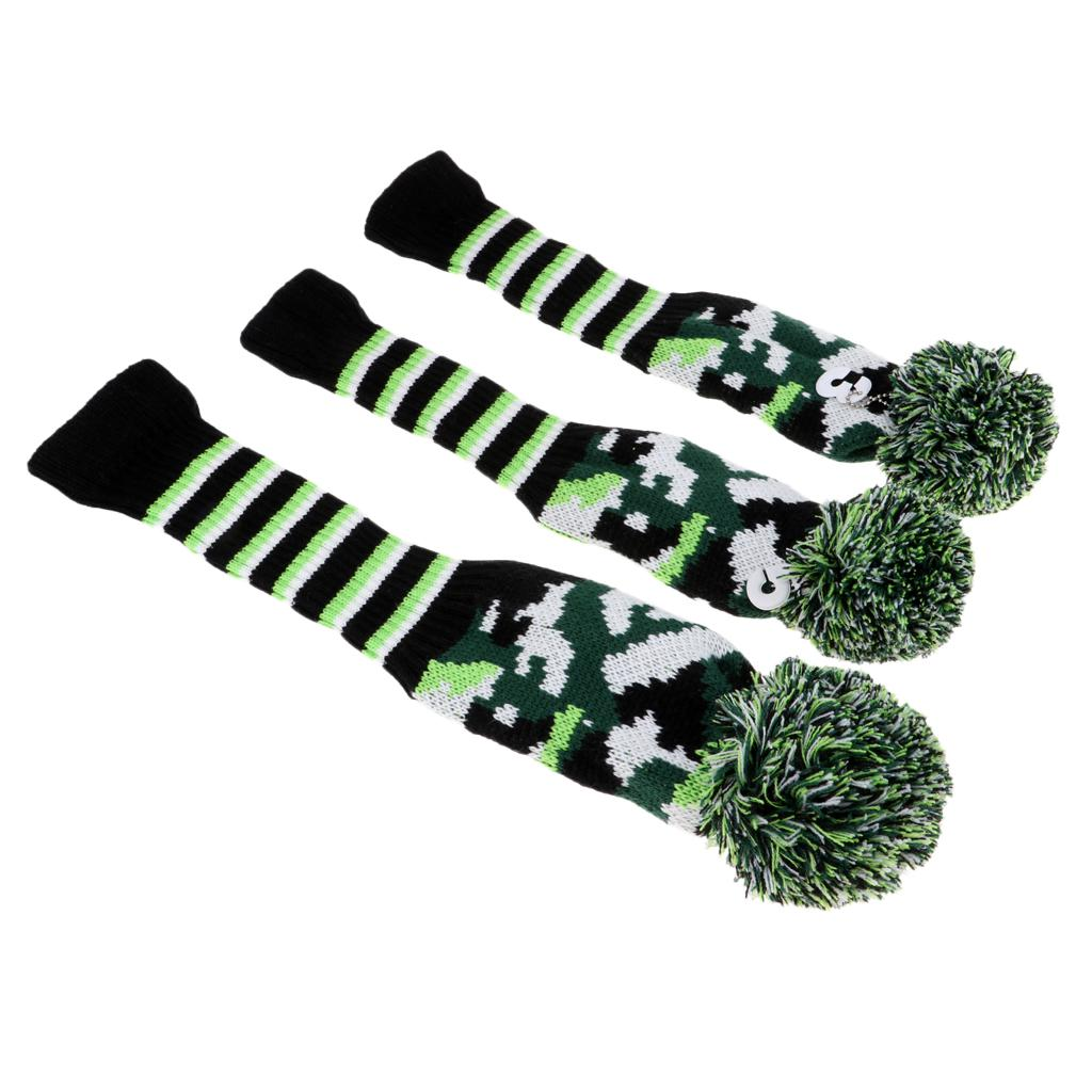 3Pcs Golf Club Knitted Headcovers Head Covers Vintange Pom Knit Socks Covers 1-3-5 For Driver & Fairway Woods