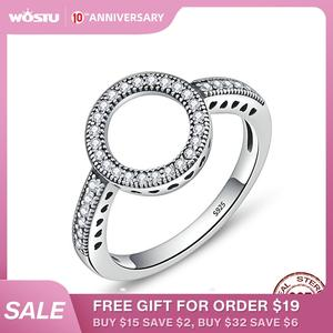 WOSTU Finger-Rings Circle Fashion Jewelry 925-Sterling-Silver Lucky Hot-Sale Women Real