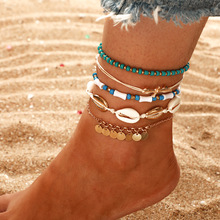 New style popular foot ornament personality Sea shell color Bead Tassel pine stone 3-layer chain