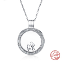 New 100% 925 sterling silver dog necklace circle pendant with cubic zirconia fashion jewelry make for women free shipping