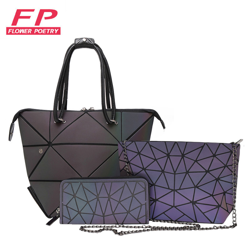 3 Pcs Set Handbag Bags Women Geometric Purses And Handbags Tote Luminous Clutch Purse Female Chain Crossbody Bags Shoulder Bags