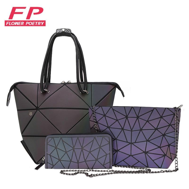 3 Pcs Set Handbag Bags Women Geometric Purses And Handbags Tote Luminous Clutch Purse Female Chain Crossbody Bags Shoulder Bags