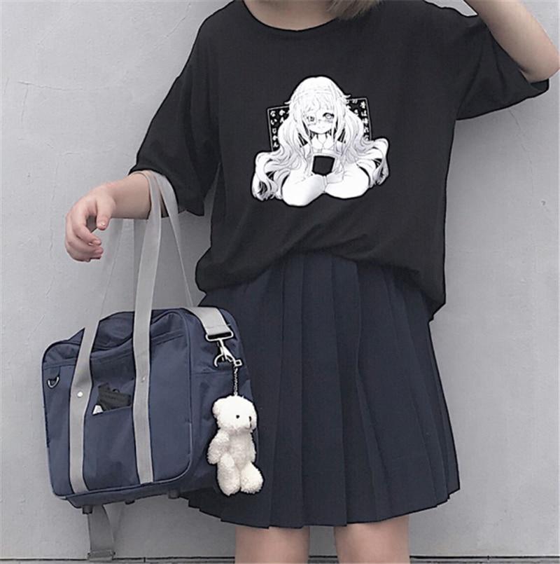 Harajuku kawaii Женская летняя футболка японский аниме Графический