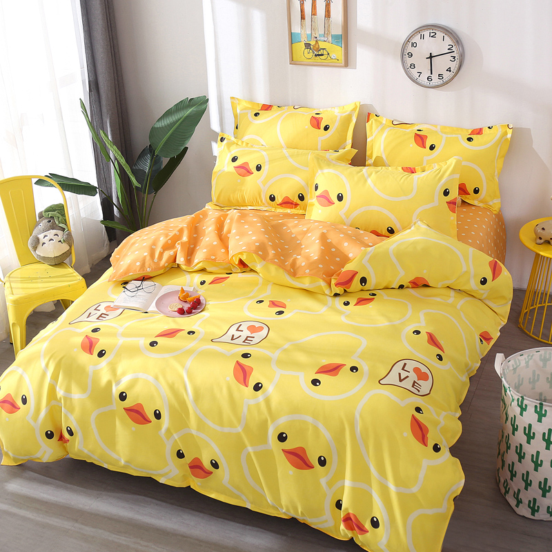 Yellow Ducks Printing Bedding Set 2pcs/3pcs Duvet Cover Set 1 Quilt Cover+1/2 Pillowcases(no Sheet) Twin Full Queen King