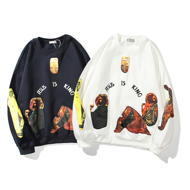 Jesus Is King Round-neck Thick Material Mural Logo Print Sweatshirts  2