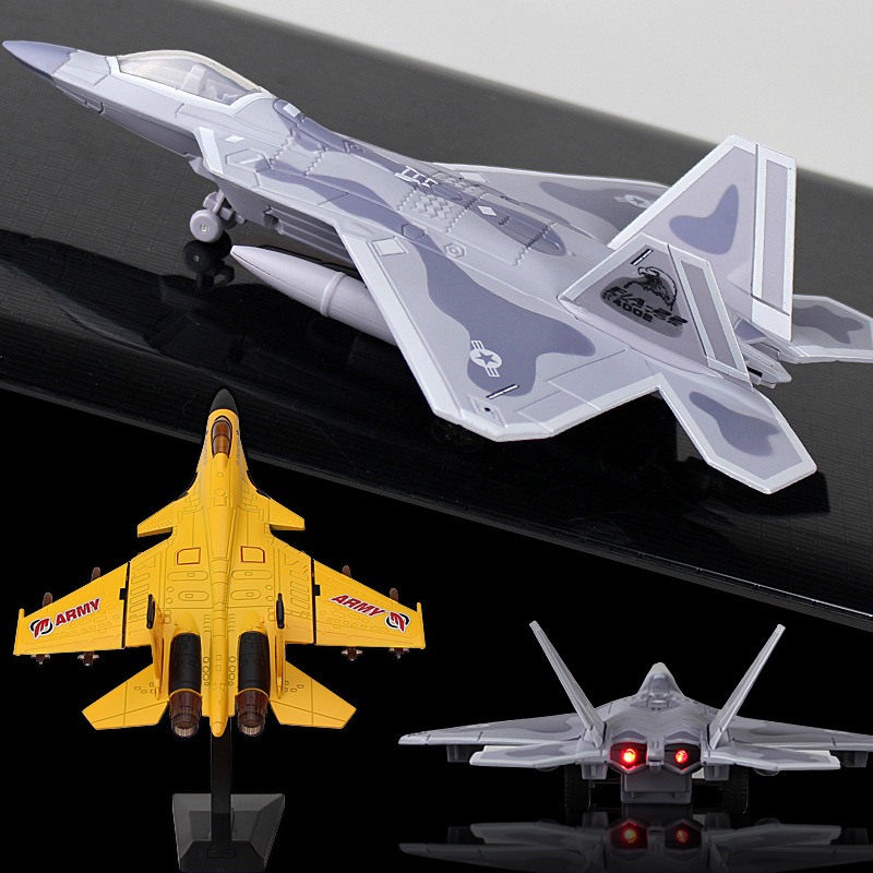 Mini Diecast Alloy Aircarft With Light Pull Back F22 Fighter Model Fixed-wing Glider Simulation Collection Toys For Children