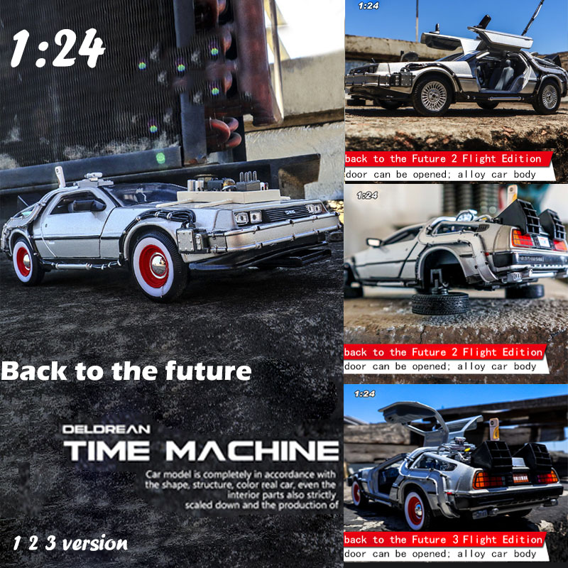 1/24 Scale <font><b>Car</b></font> <font><b>model</b></font> <font><b>Diecast</b></font> Alloy Back To The Future 1 2 3 Part Time Machine DeLorean DMC-12 Metal Vehicle Toy Welly Collection image