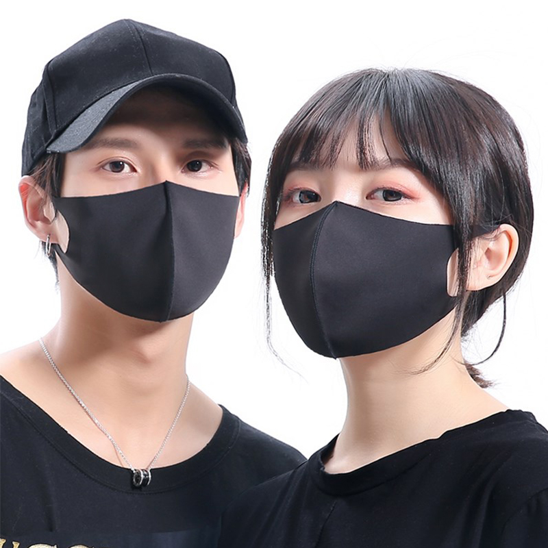 1/20/50/100Pcs Anti Pollution Face Shield Wind Proof Mouth Washable Reusable Breathable Black Mouth Mask Unisex Sponge Face Mask