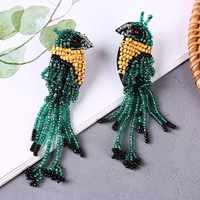Boho Handmade Long Tassel Green Bird Beaded Drop Earrings For Women Trendy Resin Crystal Fringe Earring Korean Jewelry Gifts