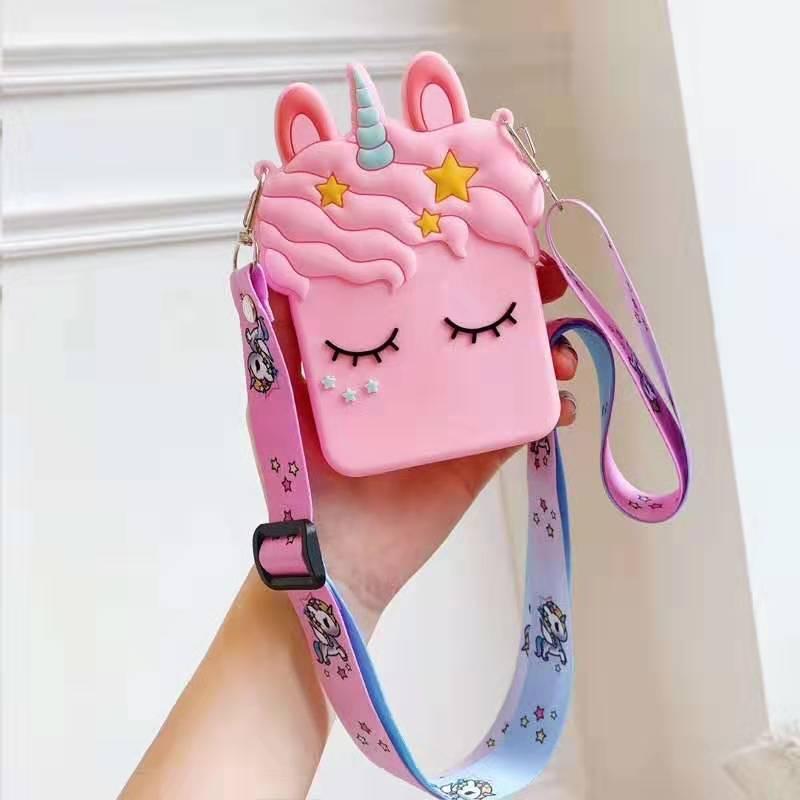Pink Unicorn Summer New Cartoon Diagonal Cross Lanyard Bag Silicone Cute Girl Soft Mini Coin Purse
