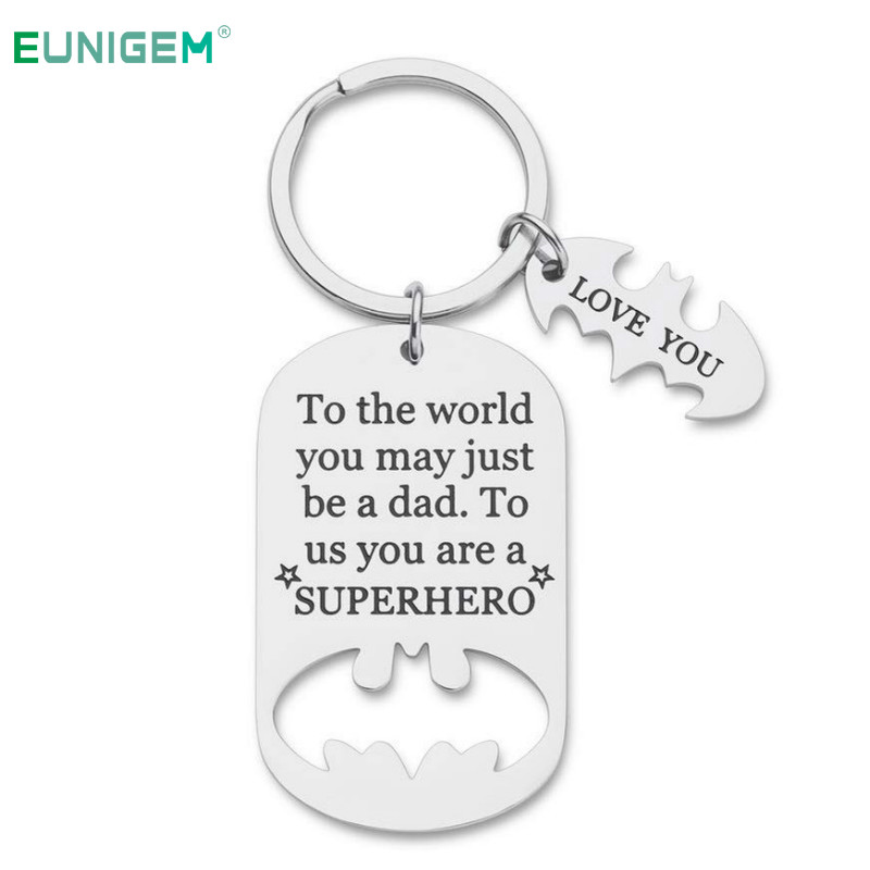 Fathers Day Gifts Dad Birthday Keychain For Daddy Step Dad To Be Husband From Daughter Son Wife Kids I Love You Key Ring Pendant