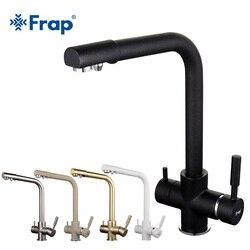 Frap новый черный смеситель для кухонной раковины, смеситель, семь букв, дизайн, вращение на 360 градусов, кран для очистки воды, двойная ручка, с...