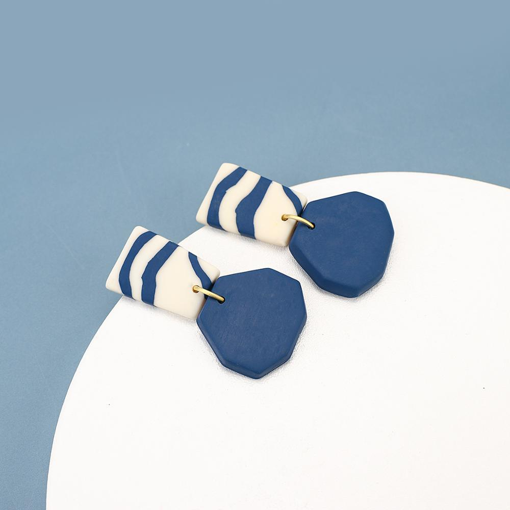 Уникальные серьги-капли AENSOA из глины, темно-синие серьги-подвески из полимерной глины, милые Висячие серьги, Необычные Модные украшения 2021