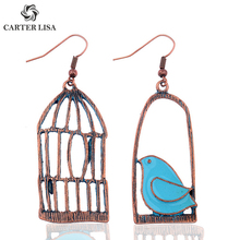 CARTER LISA уникальный дизайн синяя птица в клетке животное висячие серьги женские металлические бронзовые серьги в стиле «хиппи» вечерние подарки серьги ювелирные изделия