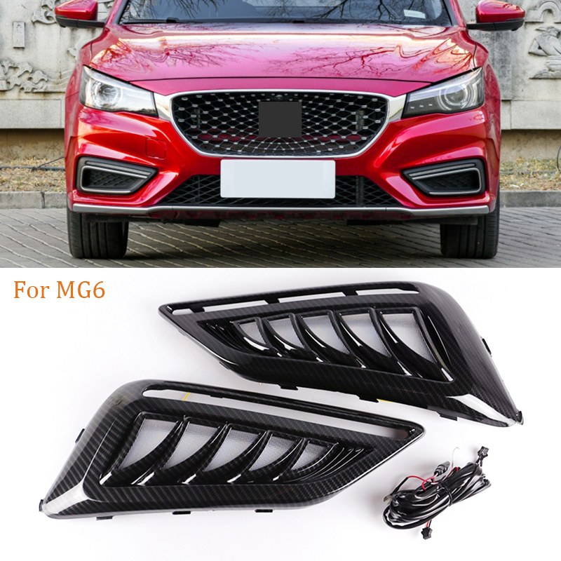 1 Pair Car LED Daytime Running Lights White Yellow Blue Running Turn signal DRL for <font><b>MG6</b></font> MG 6 2017 2018 <font><b>2019</b></font> 2020 Fog Lamp Covers image