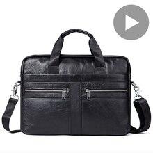 Maletín de piel auténtica para documentos A4 para hombre, bolso grande para ordenador portátil y tableta de 14 pulgadas, bolso de hombro para negocios y oficina