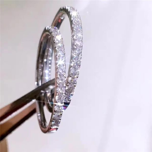 Real Solid 100% 925 Sterling Silver Diamond Rings finger Solitaire Simple Round Thin Rings for Women Element Band Ring jewelry(China)