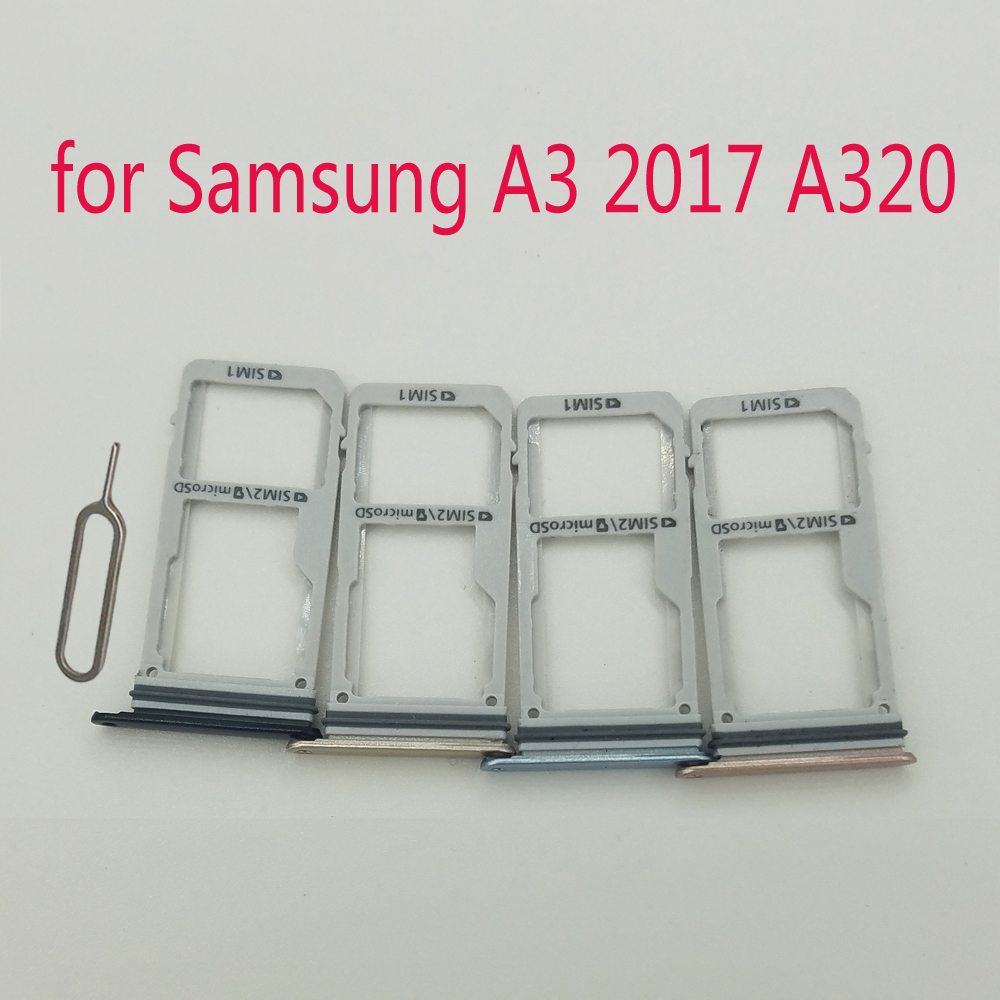 For Samsung Galaxy A3 2017 A320 A320F A320Y Original Phone Housing New SIM Tray Adapter Micro SD Card Tray Holder Slot