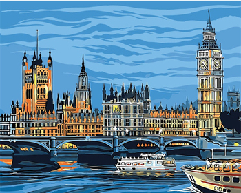 London City Scape Painting By Numbers Kit Westminster Big Ben Impressionist