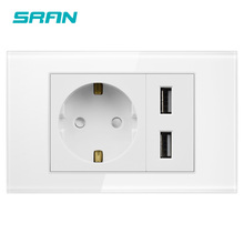 SRAN Two gang EU socket with usb,dual usb charger port 5v 2.1A,white crystal glass panel 118mm*72mm,220V 16A wall power socket