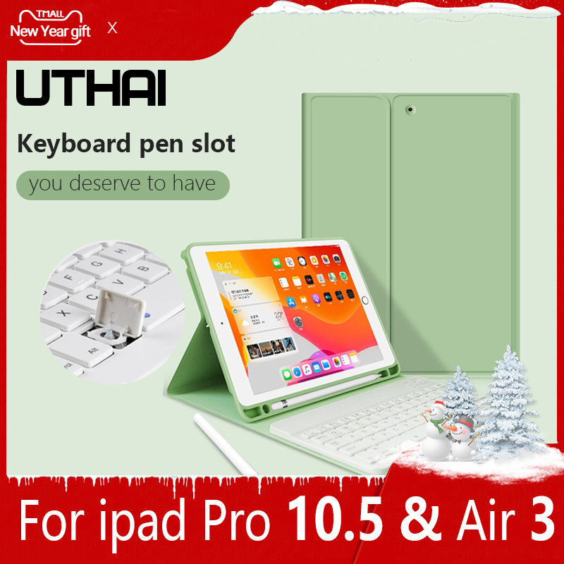 UTHAI E020 For IPad Pro 10.5 / Air 3 Case Universal Ultra-thin Magnetic Keyboard Case Smart Silicone Auto Sleep / With Pen Slot