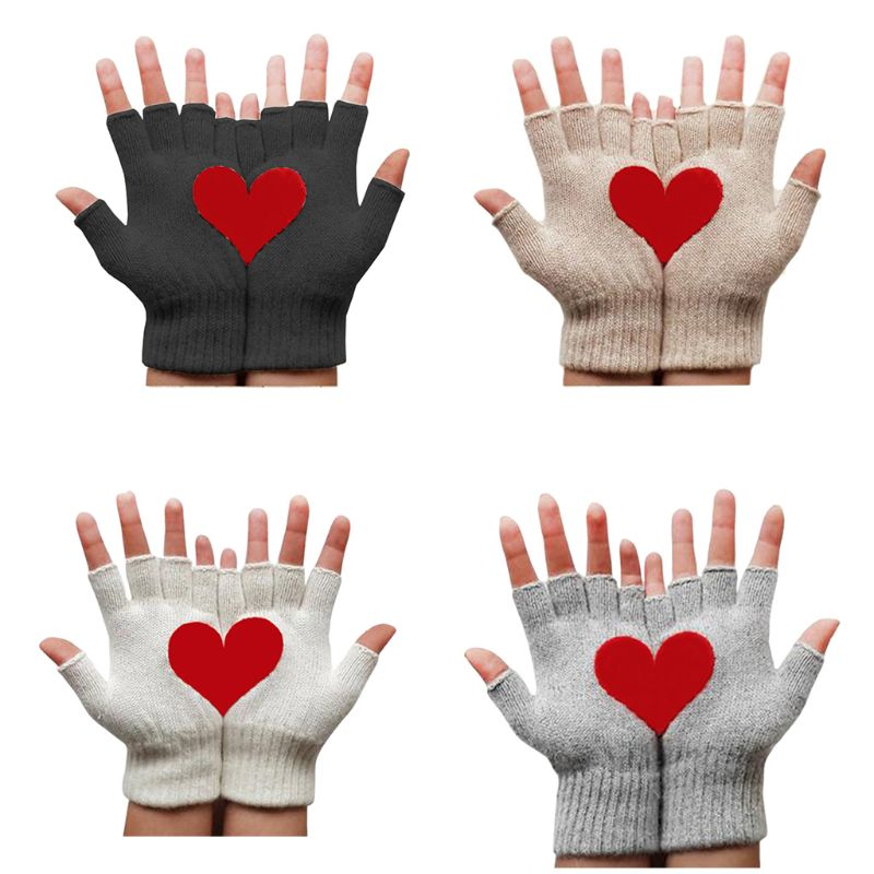 Womens Winter Fingerless Gloves Red Half Heart Irregular Patchwork Warm Mittens