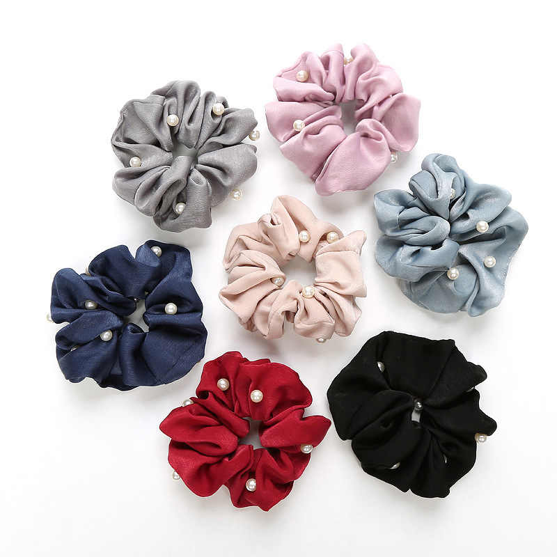 1 Pcs New Women Pearl Hair Scrunchies Ponytail Holder Soft Stretchy Hair Ties Vintage Elastics Hair Bands for Girls Accessories