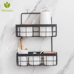 Image 1 - Eisen Lagerung Rack Veranstalter Doppel Schicht Wand Hängen Rack Bad Shampoo Dusche Regal Wand Halter Küche Lagerung Körbe