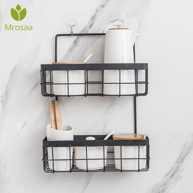 Eisen Lagerung Rack Veranstalter Doppel Schicht Wand Hängen Rack Bad Shampoo Dusche Regal Wand Halter Küche Lagerung Körbe