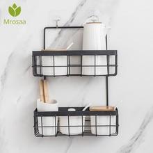 Iron Storage Rack Organizer Double Layer Wall Hanging Rack Bathroom Shampoo Shower Shelf Wall Holder Kitchen Storage Baskets