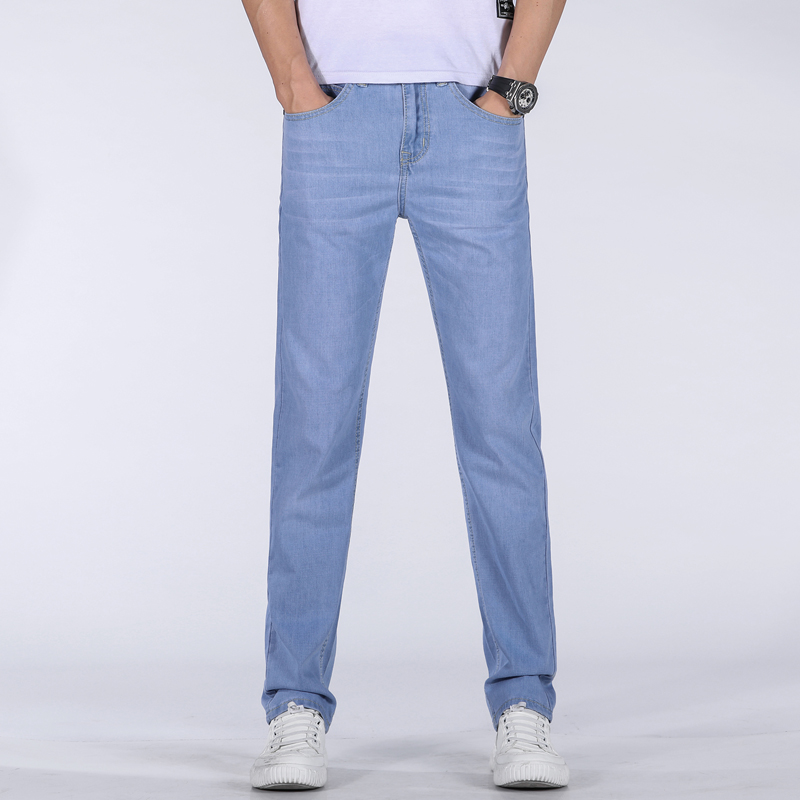 Men's Cotton Jeans High-waisted Elastic Business Jeans Casual Trousers Mens Jeans Plus Size Men Stretch Straight Trousers Blue