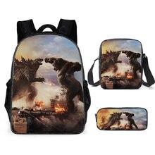 Godzillas king kong lona mochila de viagem mochila de ombro caso lápis de três peças