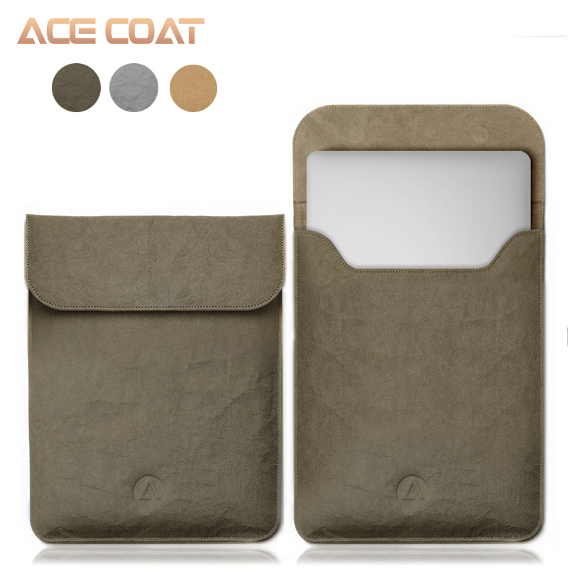 ACECOAT Washable Kraft Paper Sleeve Protector Bags for <font><b>Apple</b></font> <font><b>Macbook</b></font> Air <font><b>Pro</b></font> 13 12 <font><b>15</b></font> Laptop <font><b>Cover</b></font> Case Hasp Solid Casual Unisex image