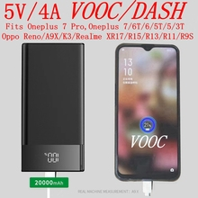 Vooc Power Bank 20000mah 5V 4A Dash Powerbank for Oppo R17 15 Reno A9X Oneplus 7 Pro Oneplus 7 6T 6 5 5T 3T Portable Charger