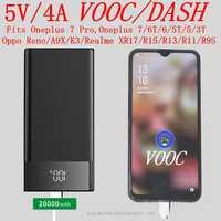 Vooc banco de potencia 20000mah 5V 4A Dash Powerbank para Oppo R17 15 Reno A9X Oneplus 7 Pro Oneplus 7 6T 6 5 5T 3T cargador portátil