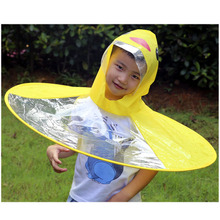 Raincoat Yellow Transparent Children's Cloak Poncho Outdoor Kids Waterproof UFO Umbrella