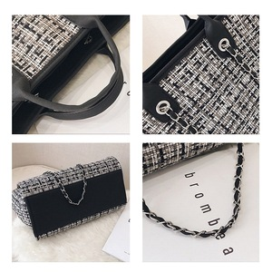 Image 5 - Ansloth Winter Classic Plaid Womens Handbags Woolen Bag For Women Shoulder Bags Patchwork Chain Bag Large Top Handle Bag HPS217